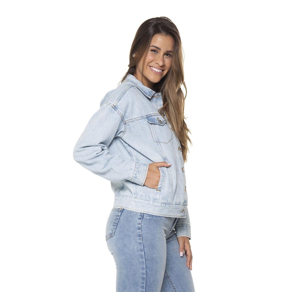 bea8c8713ea31 Jaqueta Feminina Jeans Tradicional Retro Denim Zero-dz9086 - R$ 274 ...