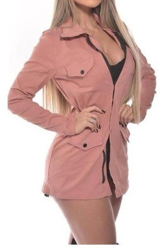 jaqueta feminina parka casaco sobretudo acinturado barato