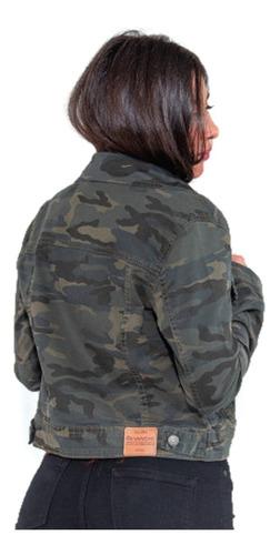 jaqueta feminina revanche jeans camuflada verde militar