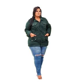 c13621e5ff0a99 Jaqueta Feminina Sobretudo Parka Jeans Plus Size Promoção