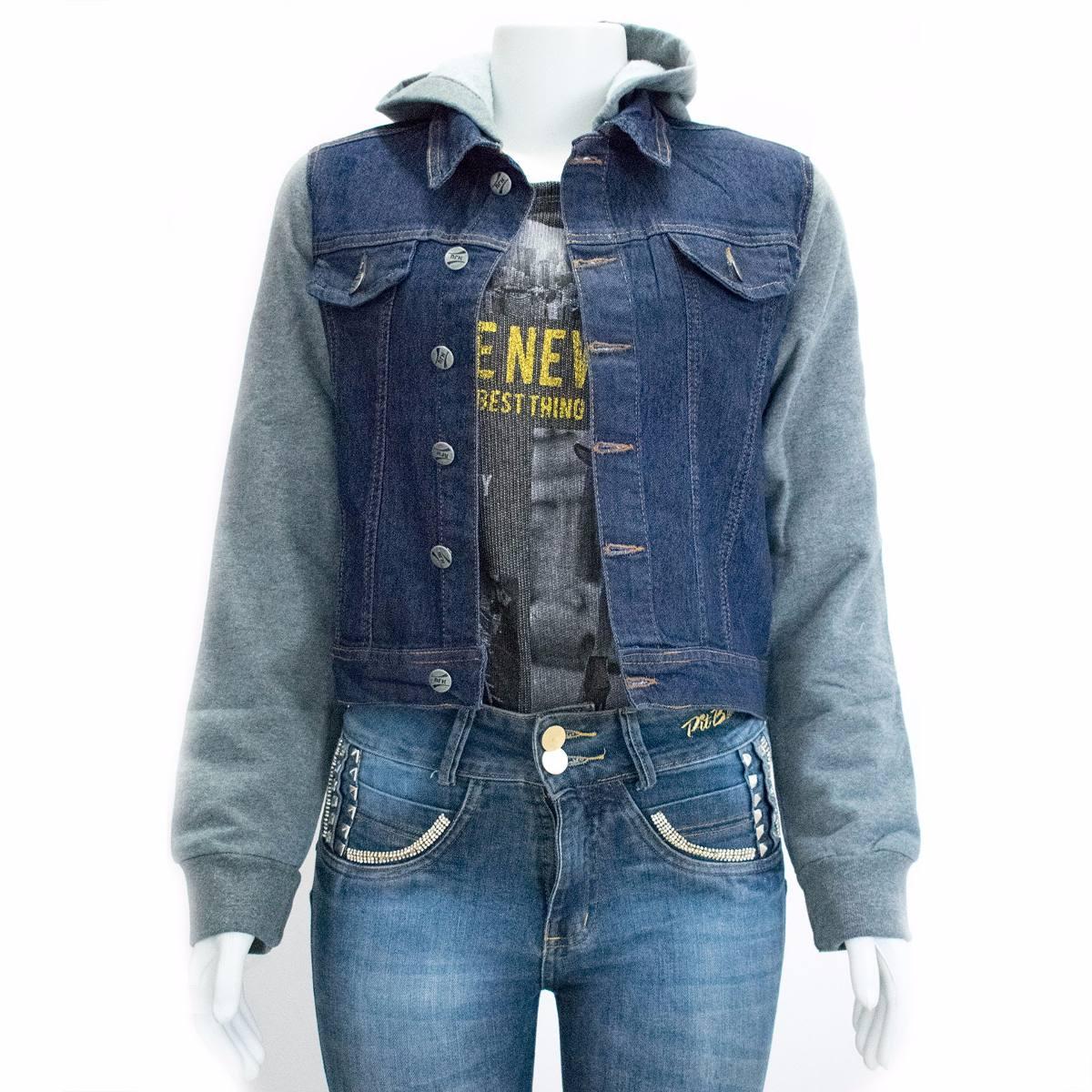 258eea384 jaqueta feminino jeans com capuz mangas de moleton. Carregando zoom.