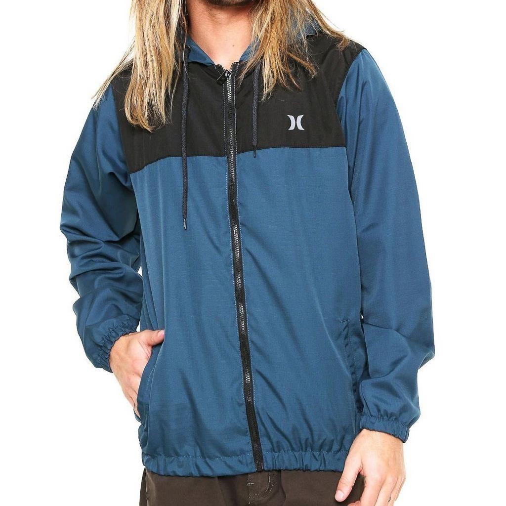 3c1c7cbac814e jaqueta hurley windbreaker raw azul preta. Carregando zoom.