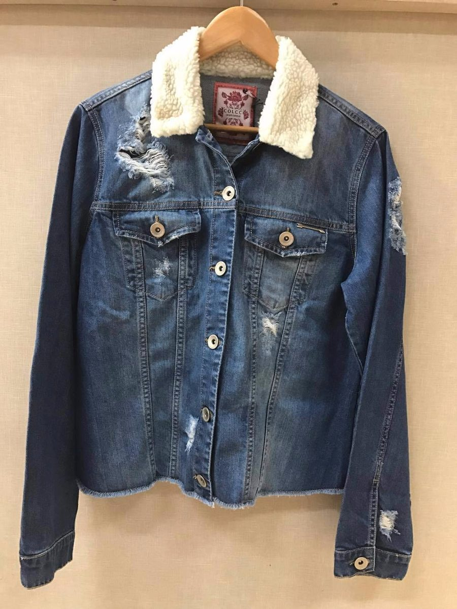 139ea0c83 Jaqueta Jeans Colcci Rasgada Com Pelo Na Gola Original/novo - R$ 399 ...