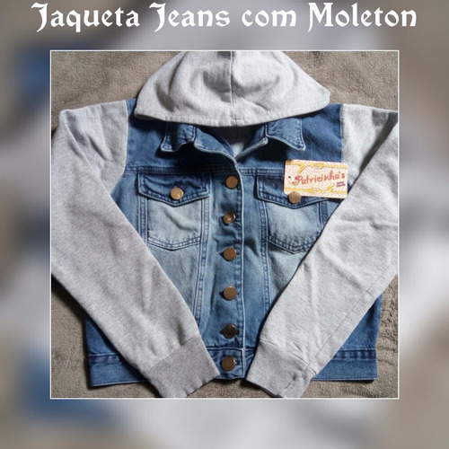 jaqueta jeans com detalhes de moleton
