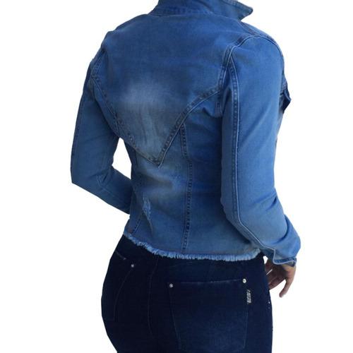 jaqueta jeans com lycra resistente estilo colcci