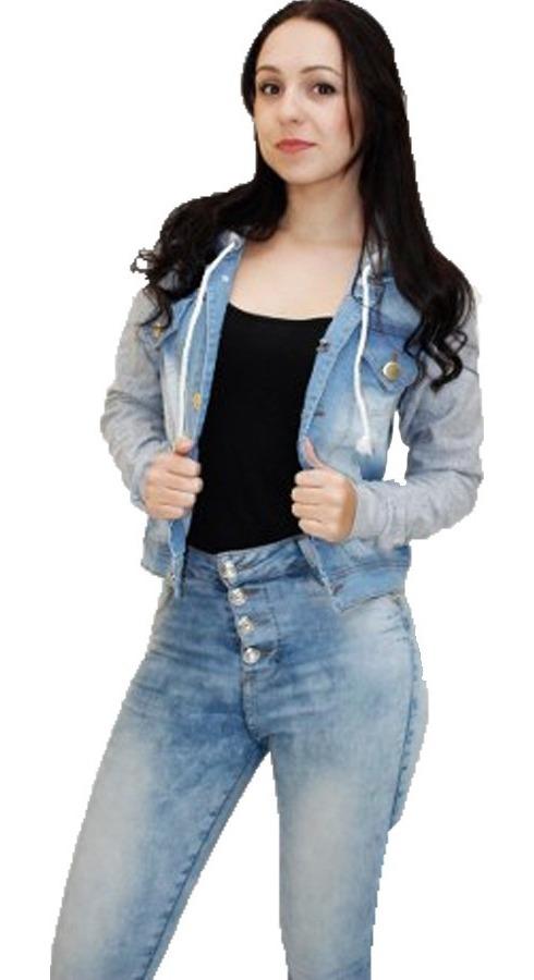 f03f730258 jaqueta jeans com manga moleton + capuz blusa manga longa. Carregando zoom.