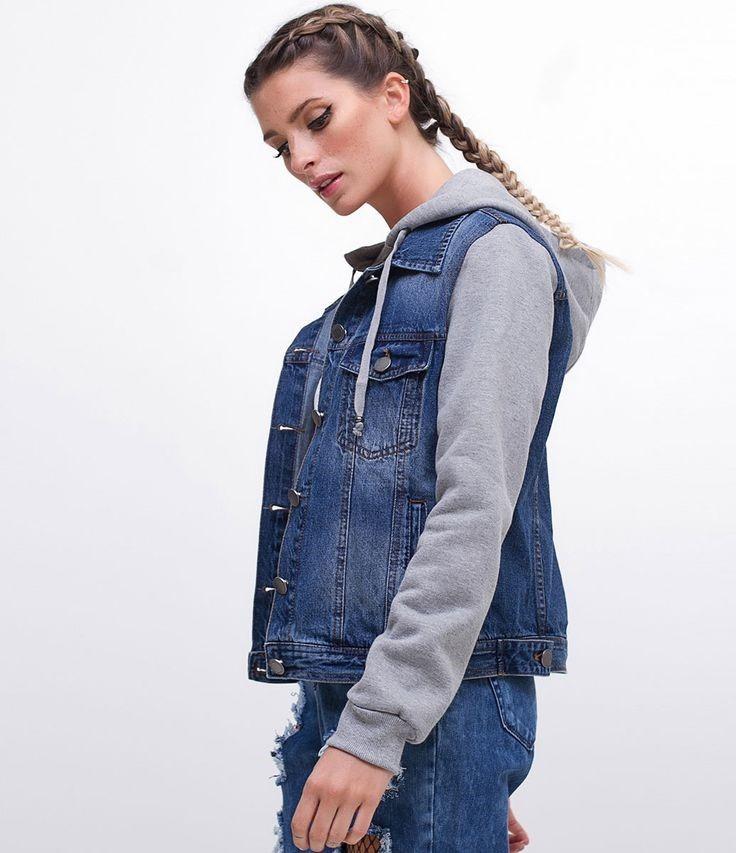 042f7690a jaqueta jeans com mangas de moletom feminina inverno. Carregando zoom.