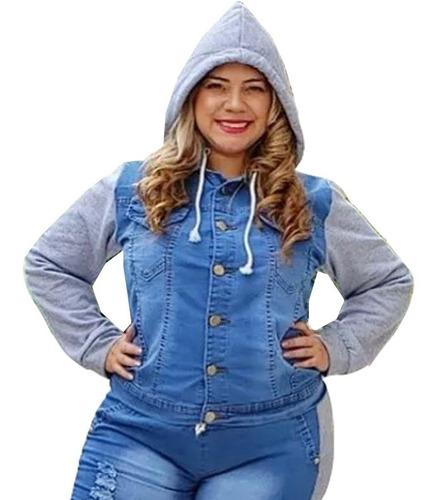 jaqueta jeans com moletom plus size feminina c/ capuz blusa