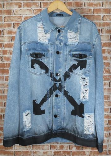 jaqueta jeans destroyed - rasgada destruída