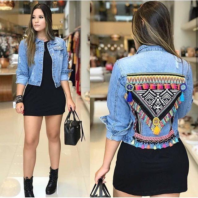 21f56fd3af24 Jaqueta Jeans Feminina Bordada Casaco Blogueiras - R$ 189,00 em ...