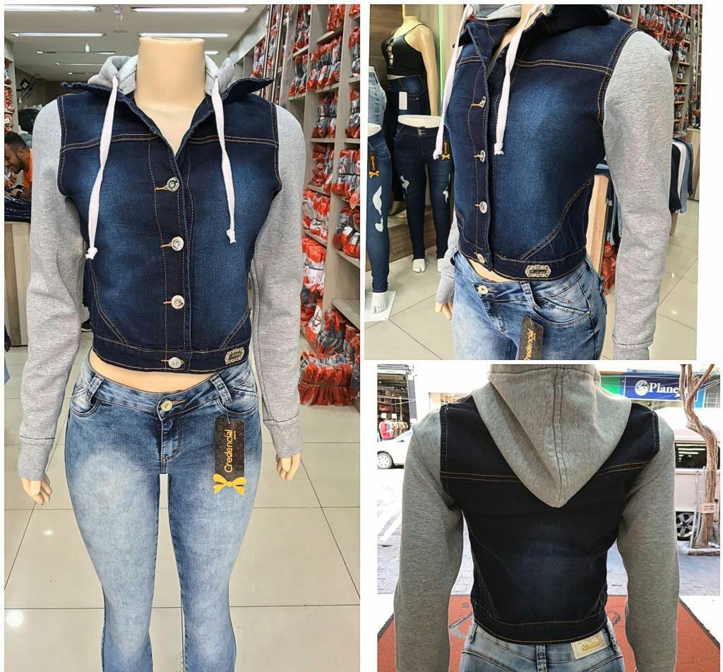 4af3629b3c Jaqueta Jeans Feminina Com Moletom Na Manga E Capuz - R$ 110,00 em ...