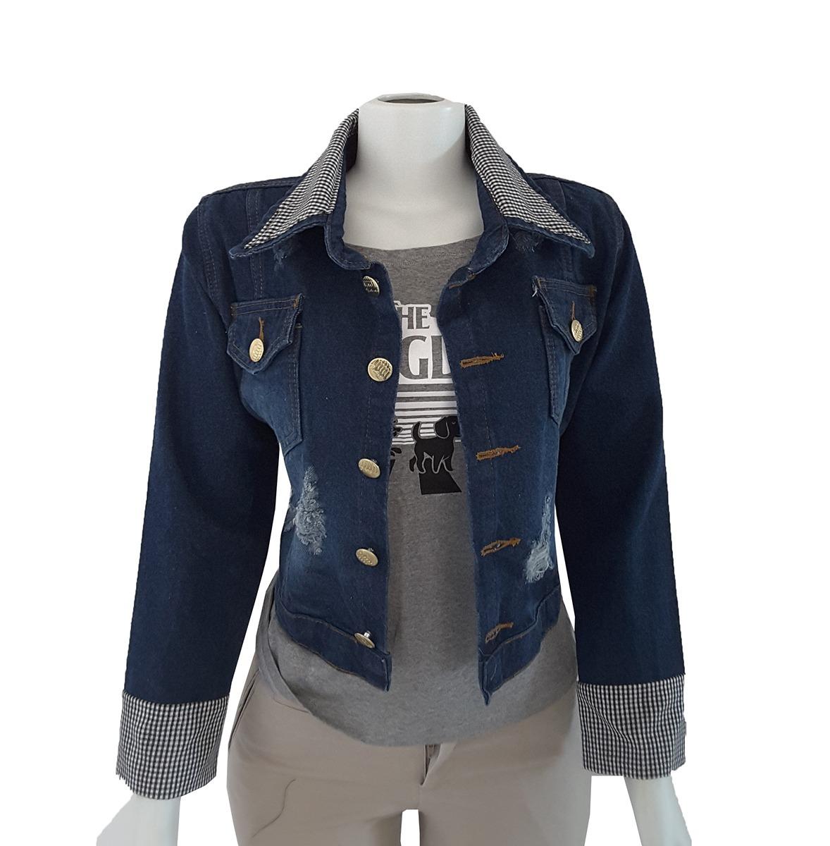 da8c42f7dc jaqueta jeans feminina customizada rasgada manga xadrez. Carregando zoom.
