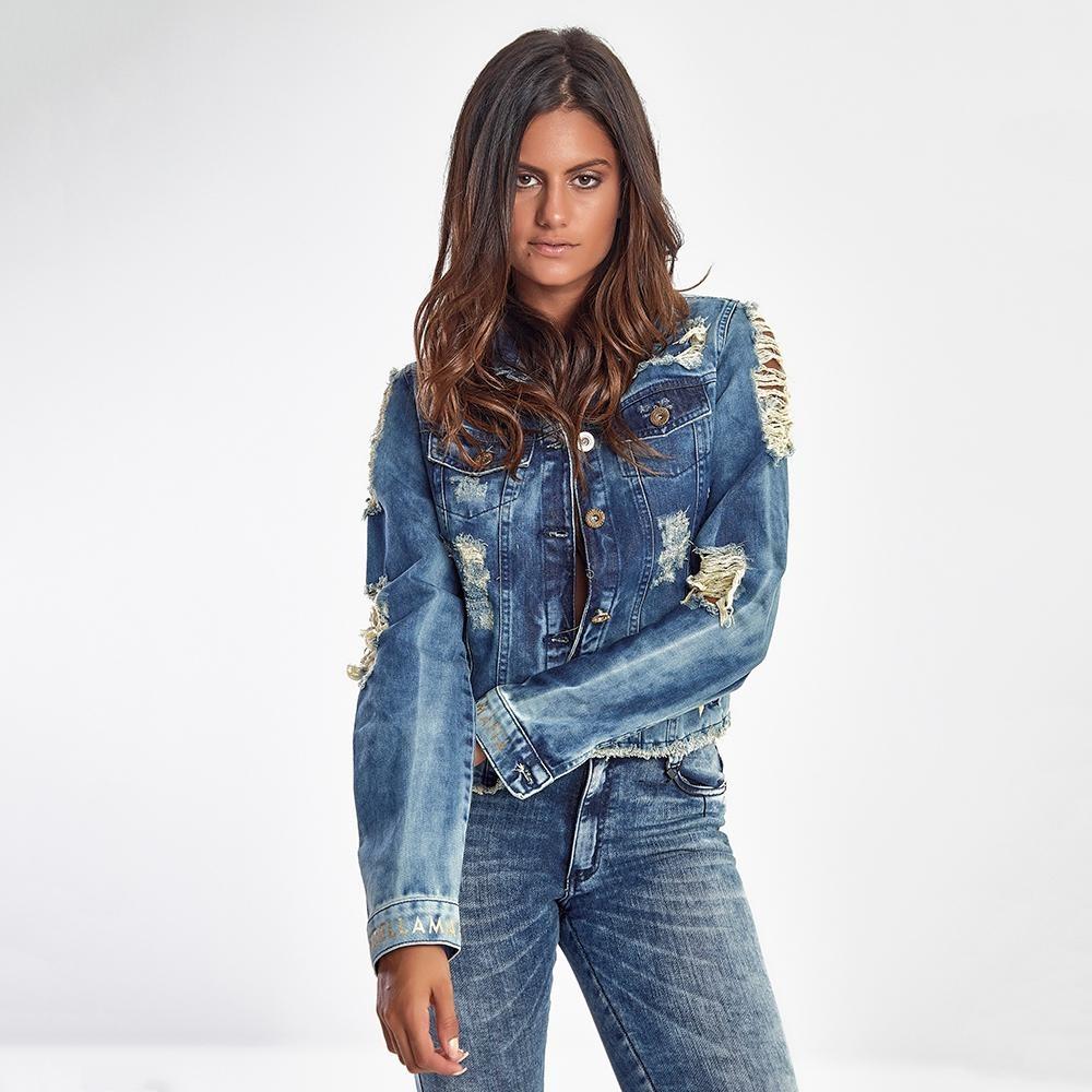537b35e33 Jaqueta Jeans Feminina Destroyed Blue - R$ 379,99 em Mercado Livre