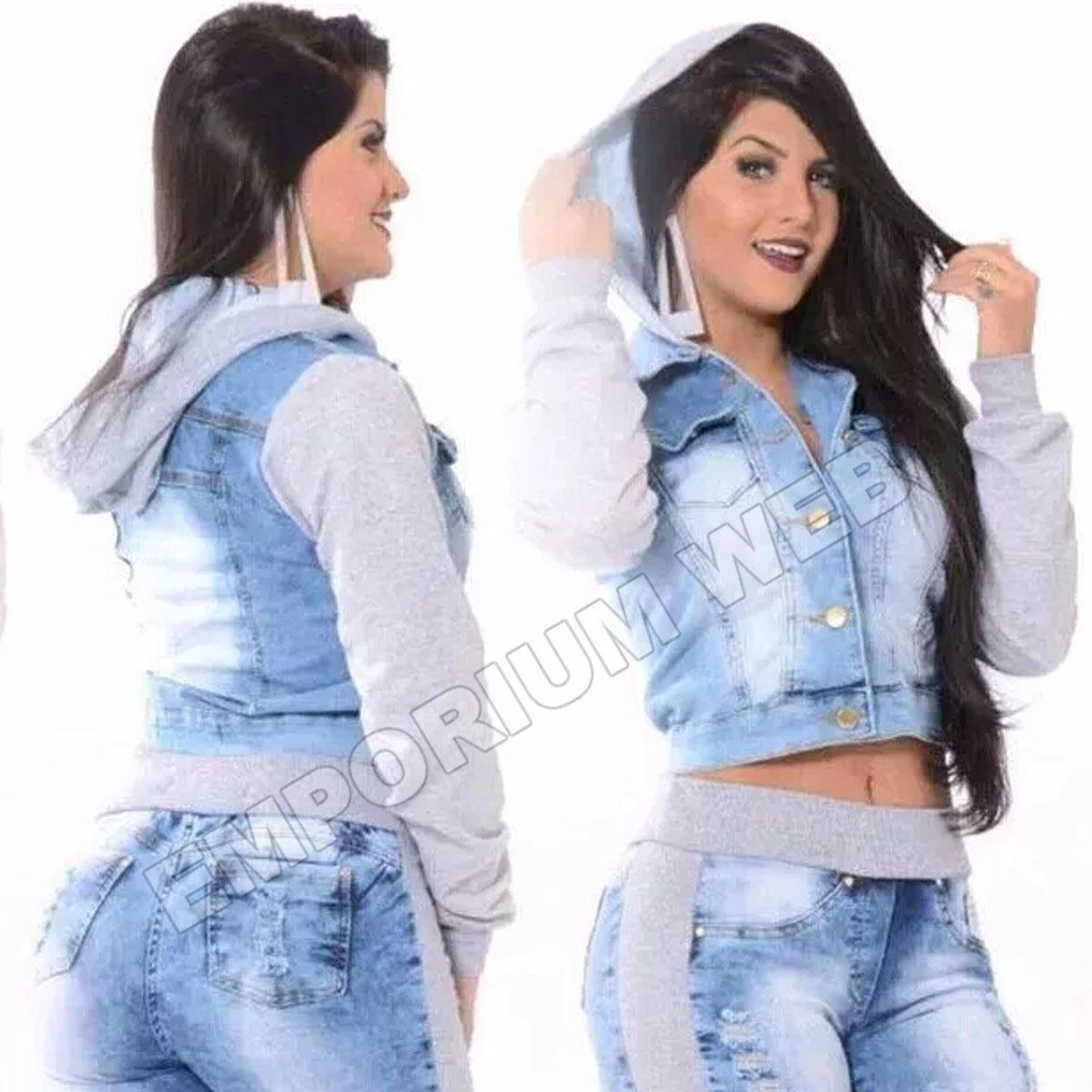 889a909296e2 jaqueta jeans feminina manga moletom capuz moda blogueira. Carregando zoom.