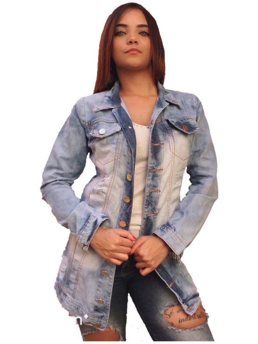 ec6b8a0568f2 jaqueta jeans feminina maxi tendência blogueiras rasgado. Carregando zoom.