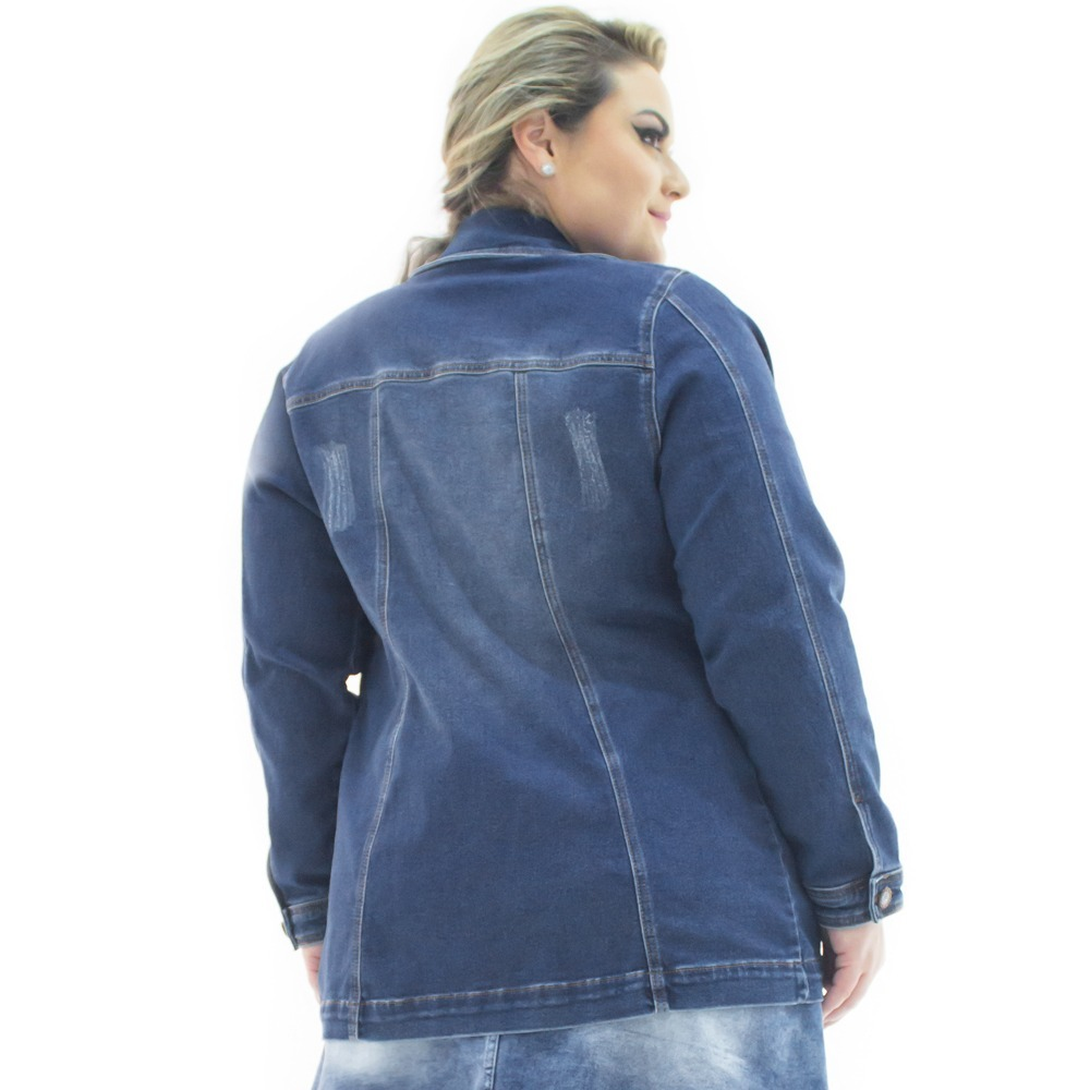 a39369d3a4 jaqueta jeans feminina over alongada plus size bzj070. Carregando zoom.