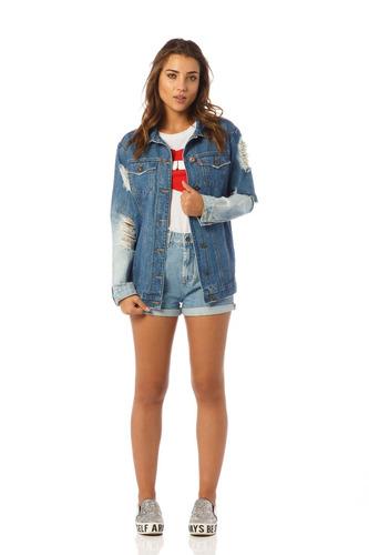 jaqueta jeans feminina oversize detonada denim zero - dz9069