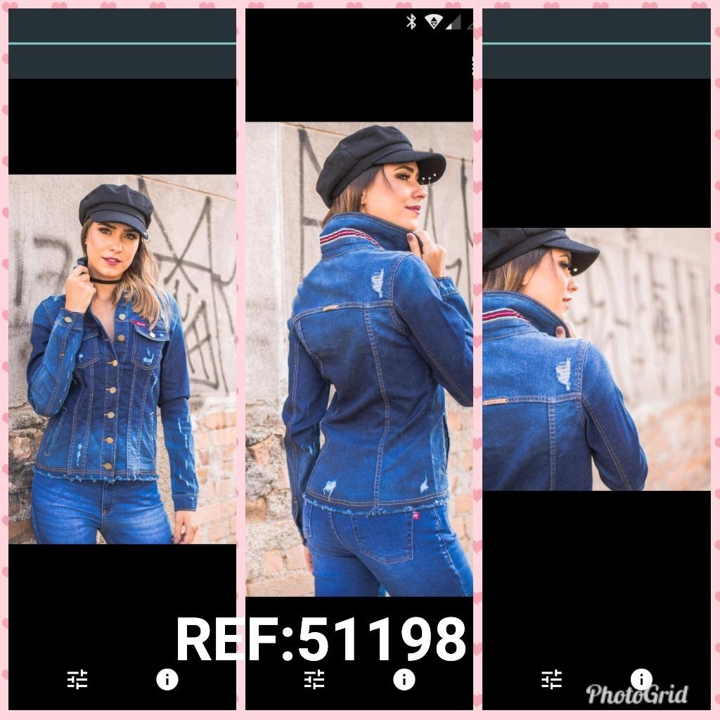 3f19a64cc jaqueta jeans feminina revanche galão gola cod. 51198. Carregando zoom.