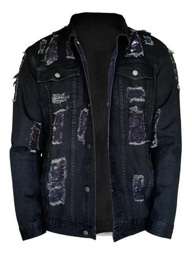 jaqueta jeans masculina jaqueta de frio jeans destruída b34