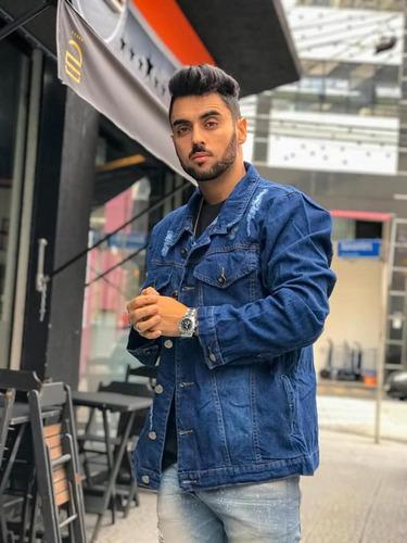 jaqueta jeans masculina touca moletom rasgada jeans premium