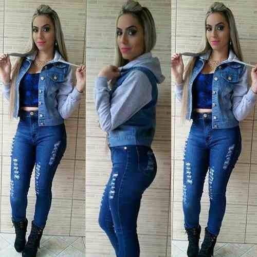 Jaqueta Jeans Moletom Casaco Capuz Agasalho Feminina R. Jaqueta Jeans  Moletom. Jaqueta Lacoste Com Capuz SH0516 eb6fffdc8f