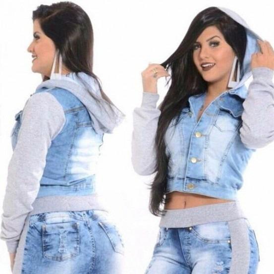Jaqueta Jeans Moletom Casaco Capuz Agasalho Feminina Ref 161 - R  65 ... 635b0eb994