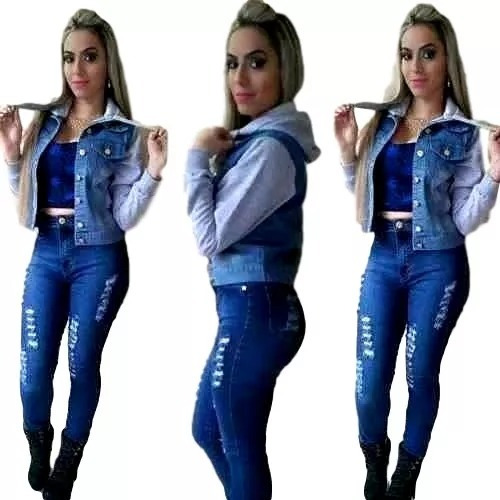 64800e6a8 Jaqueta Jeans Moletom Casaco Capuz Agasalho Feminina Ref 161 - R  65 ...