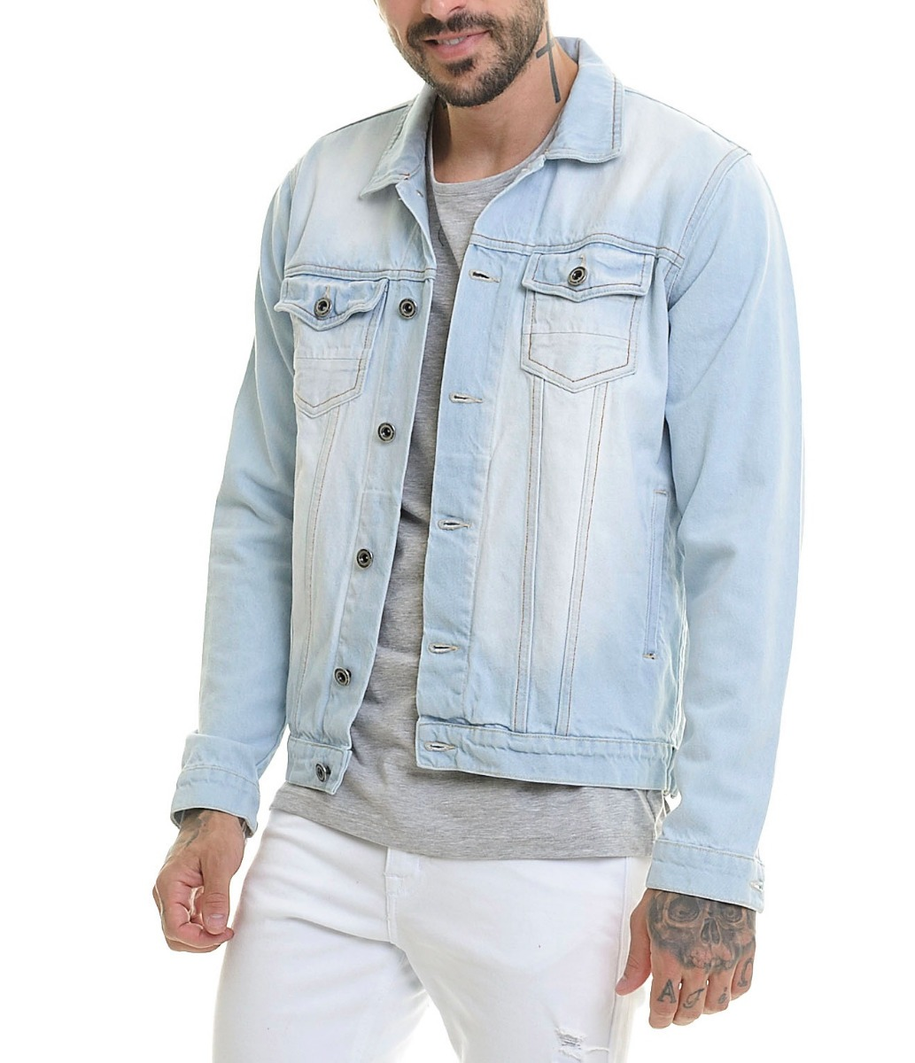 71b48bb5a6 Jaqueta Jeans Premium Escura Masculina Casaco Slim Offert - R  169 ...