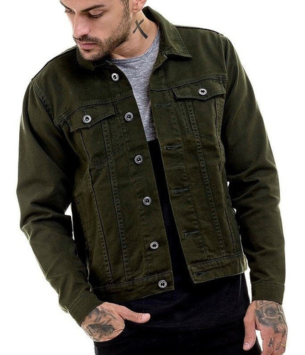 jaqueta jeans  premium  masculina slim fit verde offert