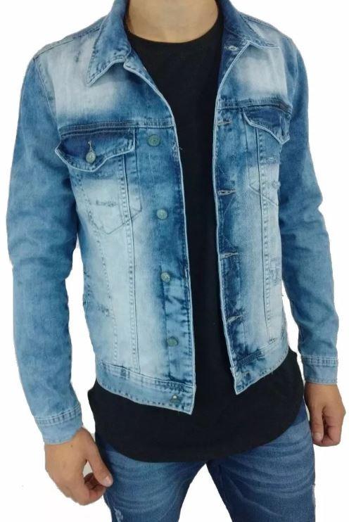 833fa4193e Jaqueta Jeans Rasgado Destoyed Slim Masculina Dj - R$ 130,00 em ...