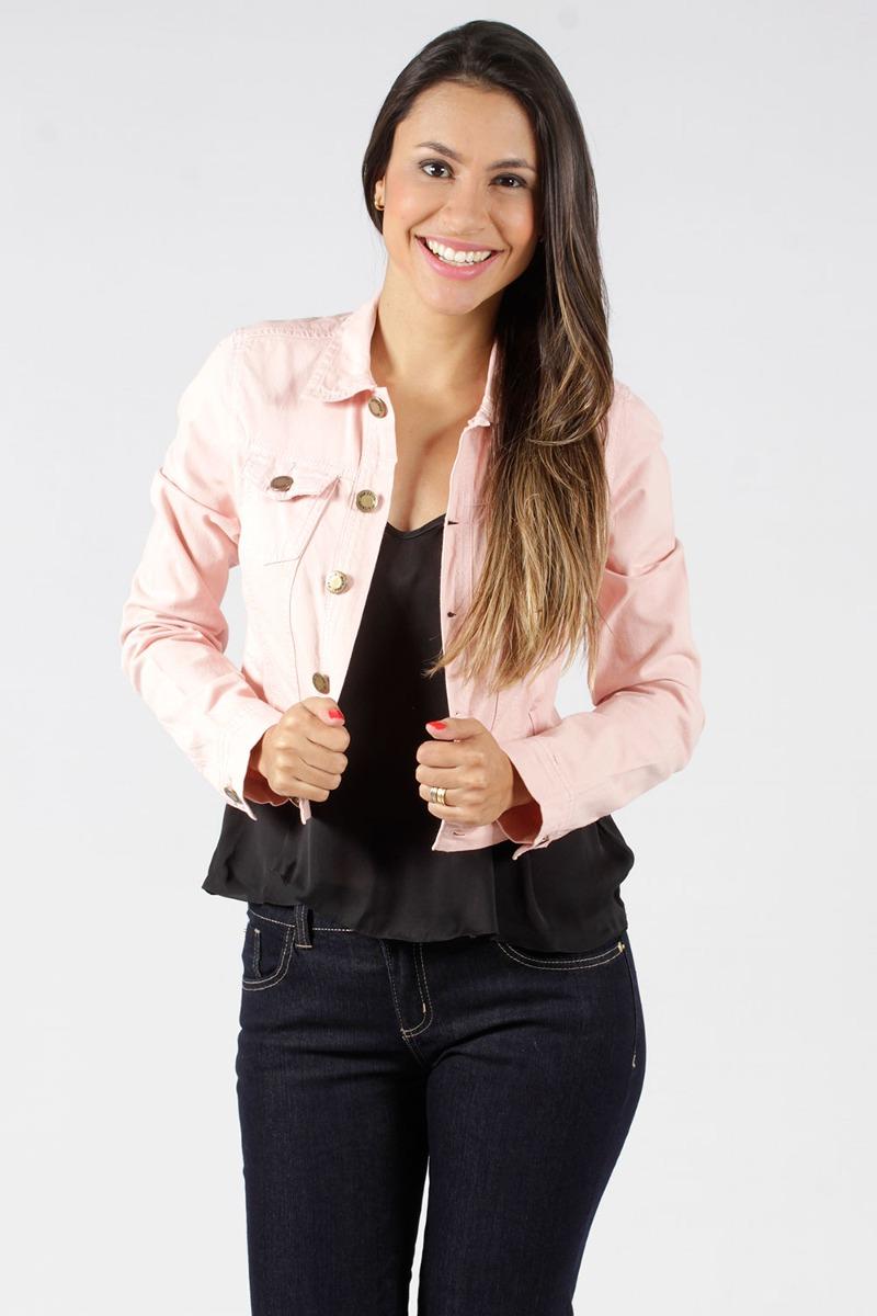 4524fa80db Jaqueta Jeans Rosa Claro Mercatto - R$ 109,00 em Mercado Livre
