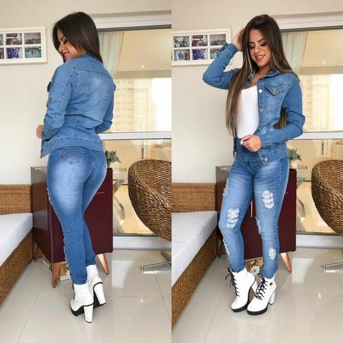 jaqueta jeans roupas feminina com lycra modeladora