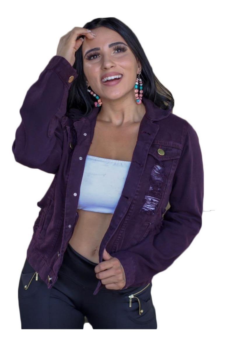 41db84cdb0ba jaqueta jeans roxa rasgadinha feminina blogueira outono. Carregando zoom.