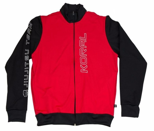 jaqueta jiu jitsu team vermelha preta koral