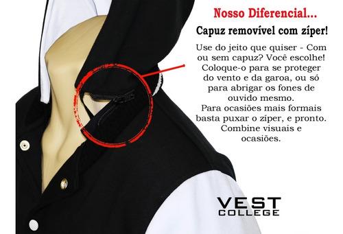 jaqueta masculina college varsity blusa capuz removível ny