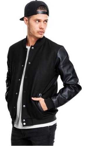 jaqueta masculina college varsity mangas em couro