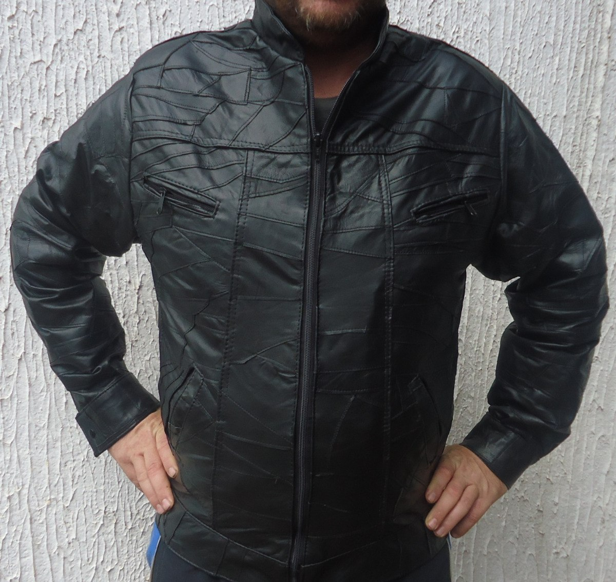 deb06b178 jaqueta masculina couro legitimo casaco masculinoem retalhos. Carregando  zoom.
