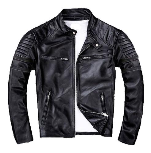 jaqueta masculina de couro slim fit oferta