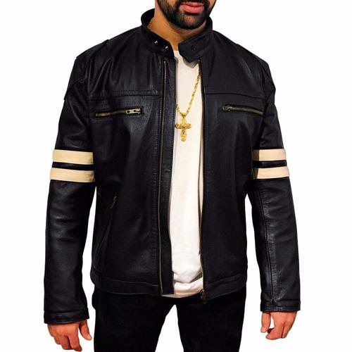 jaqueta masculina moto motociclista casaco couro legítimo