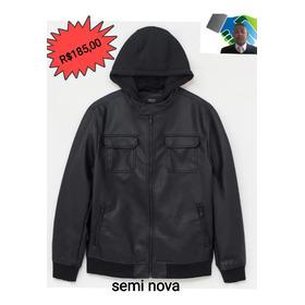 Jaqueta Masculino De Couro Sintético Semi Nova