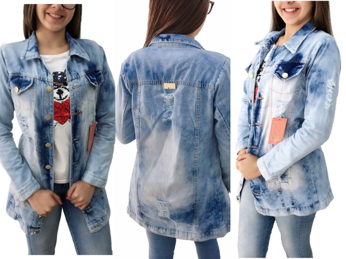 fba6a333b24c jaqueta max jeans feminino rasgado blogueiras tendência. Carregando zoom.