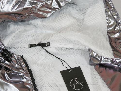 jaqueta metalizada - corta vento - cromada - prateada