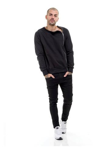 jaqueta moleton premium masculina preta slim  offert