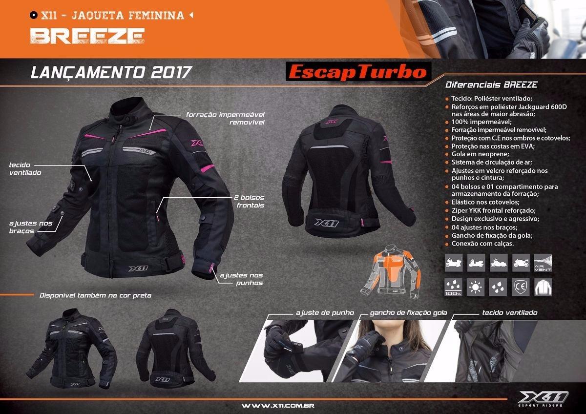 2699fcd00 jaqueta motociclista x11 breeze feminina preta ventilada. Carregando zoom.