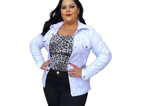 jaqueta plus size feminina jeans branca com botões