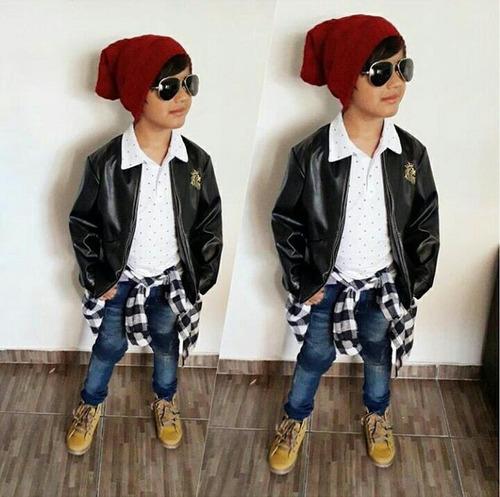 jaqueta preta infantil roupa lançamento masculina couro