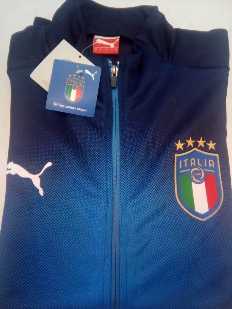 e0f1912fb1 jaqueta puma itália home 2018 oficial azul. Carregando zoom.