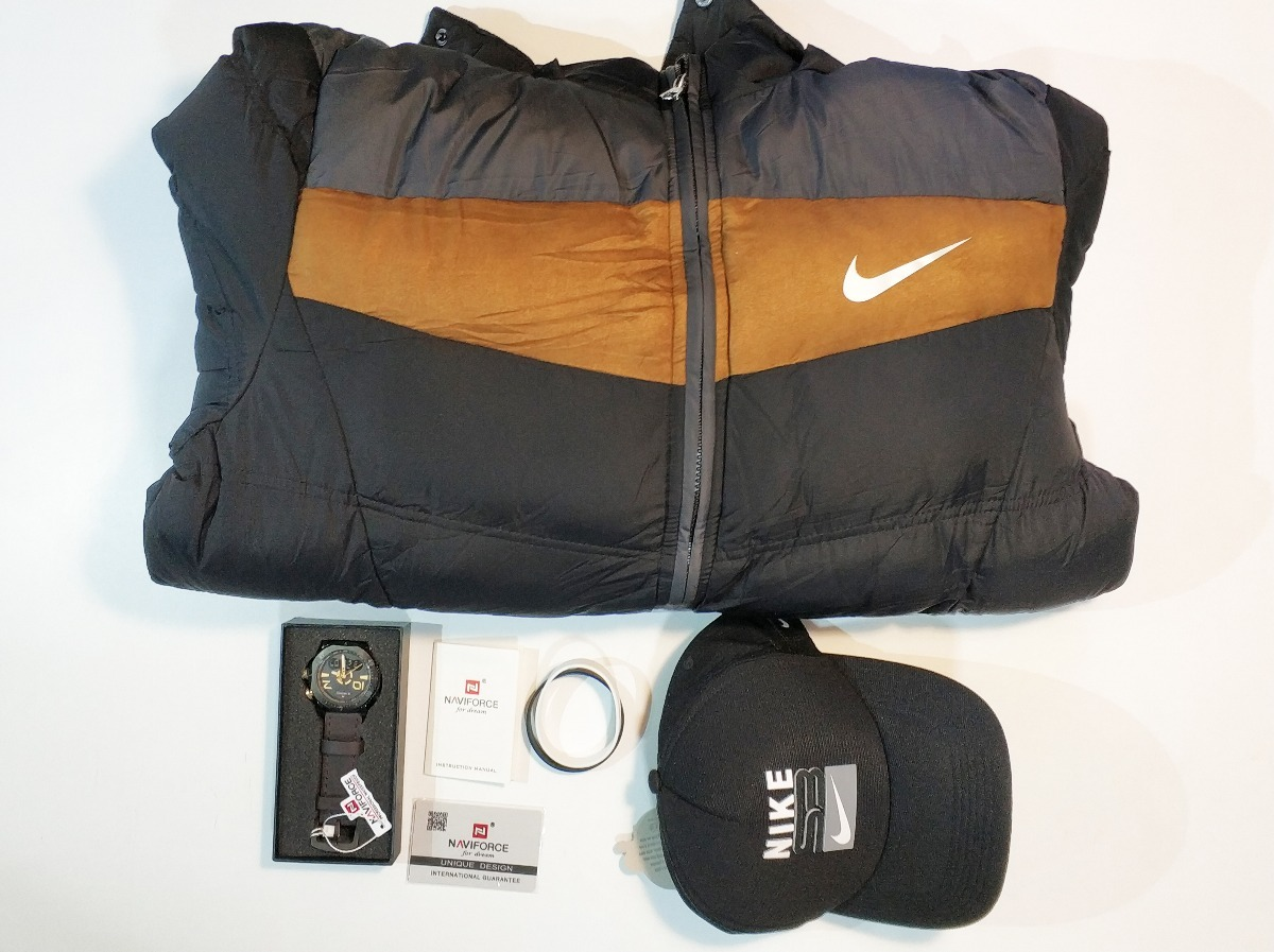 2bc24b4e6b6 Jaqueta+relógio Naviforce+boné(nike Ou Oakley)+pulseira Nike - R ...