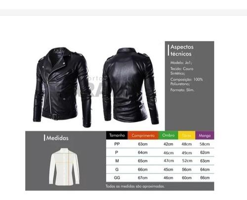 jaqueta slim couro pu ecológico motoqueiro