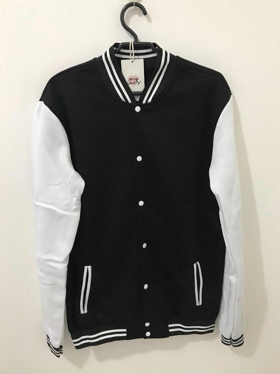 29f8005773 jaqueta varsity colegial unissex preta e branca moda tumblr. Carregando  zoom.